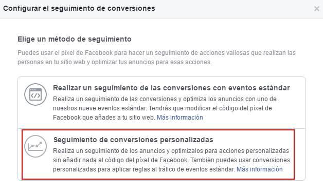 Configuración de las conversiones personalizadas