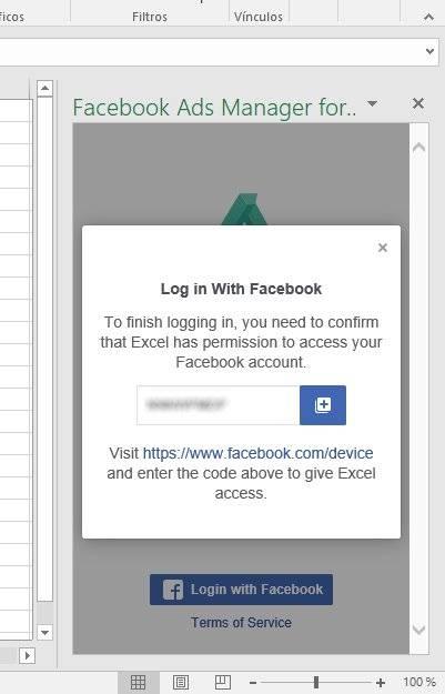 Conceder permisos al Administrador de Facebook Ads para Excel