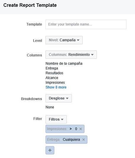 Plantillas de reportes en Administrador de anuncios de Facebook para Excel