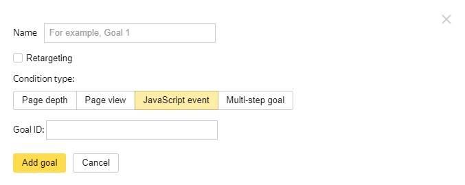 Objetivos en Yandex Metrica - JavaScript event