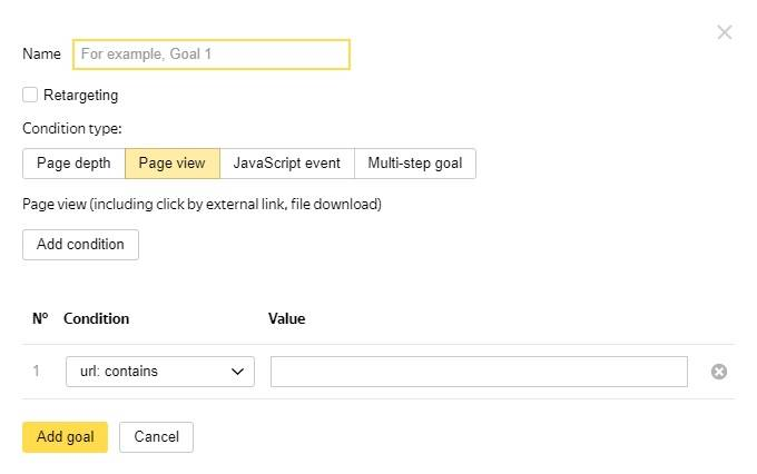 Objetivos en Yandex Metrica - Page View